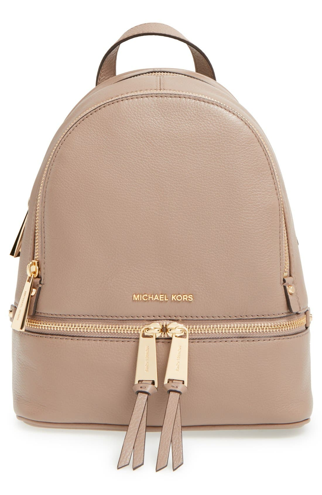 Alternate Image 1 Selected - MICHAEL Michael Kors 'Extra Small Rhea Zip' Leather Backpack