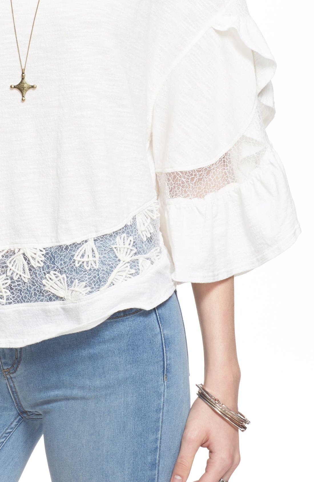 'Love Affair' Lace Inset Knit Top,                             Alternate thumbnail 5, color,                             Ivory