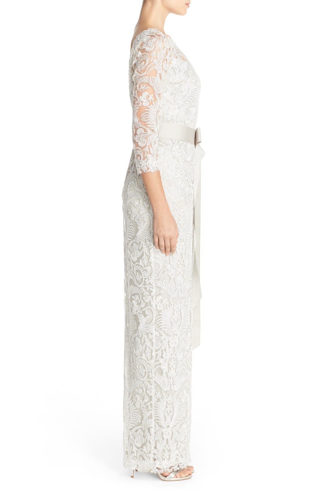 Embroidered Mesh Column Gown,                             Alternate thumbnail 3, color,                             Silver
