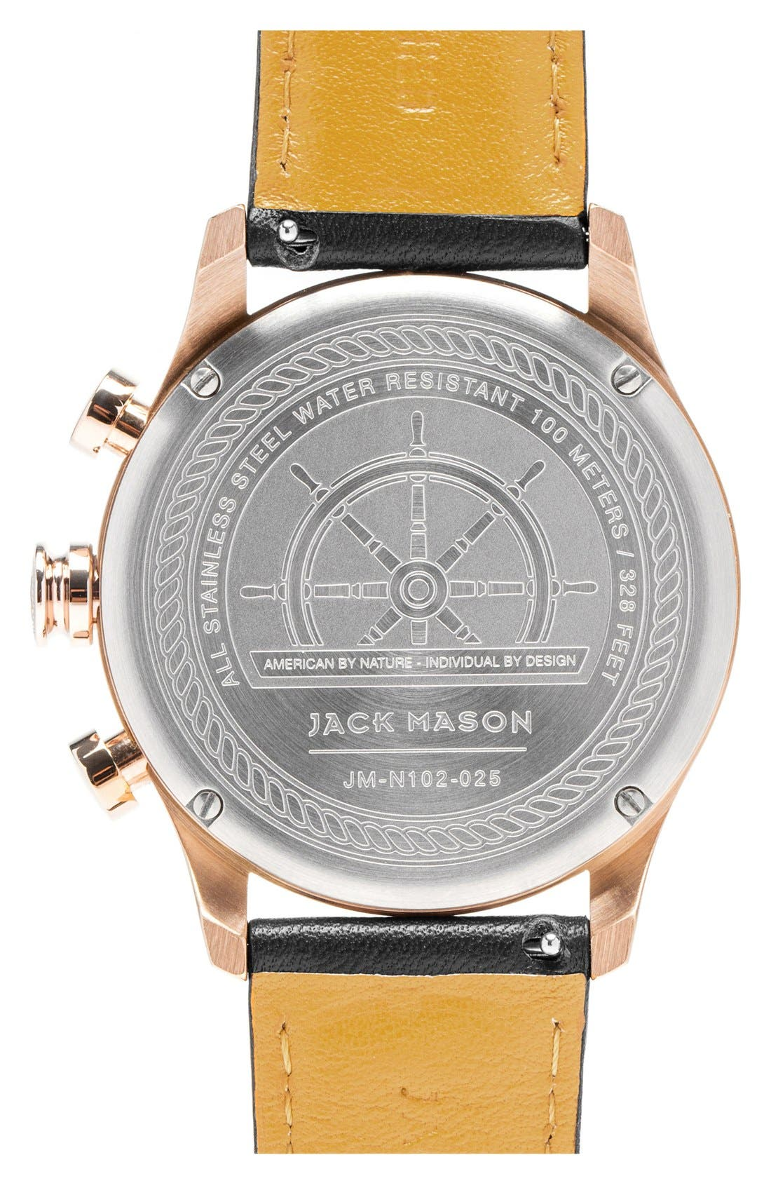 Alternate Image 2  - Jack Mason Nautical Chronograph Leather Strap Watch, 42mm
