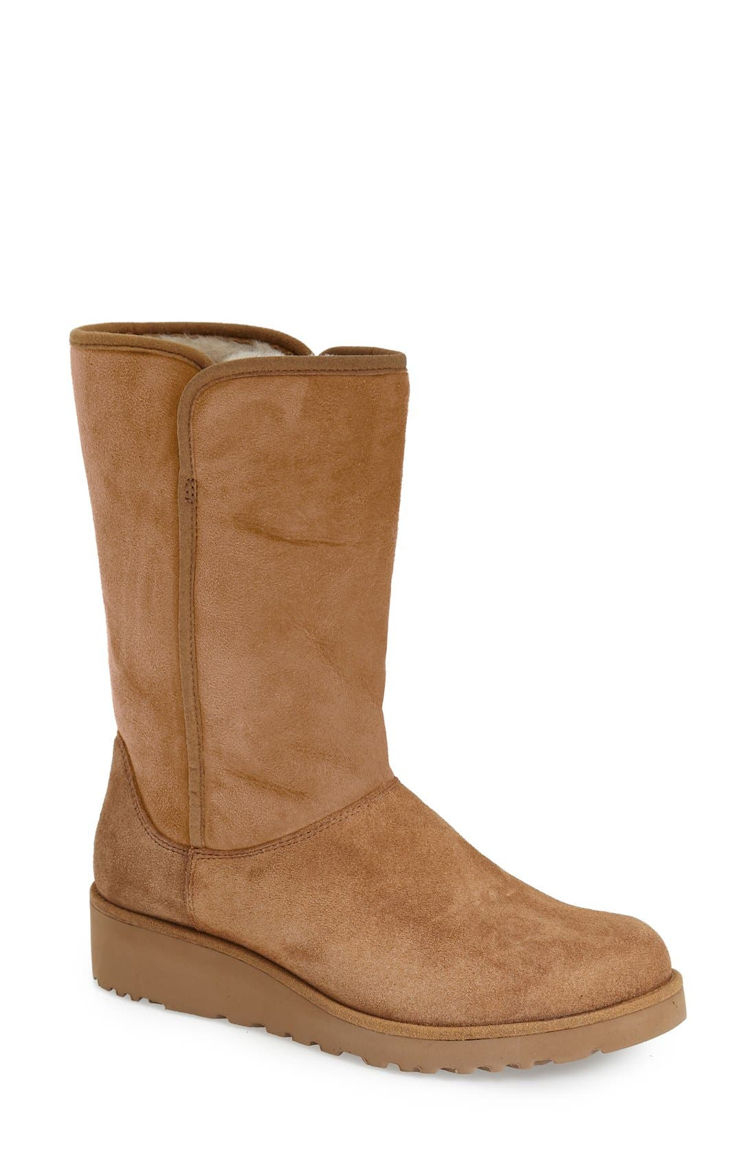 Amie - Classic Slim<sup>™</sup> Water Resistant Short Boot,                         Main,                         color, Chestnut Suede