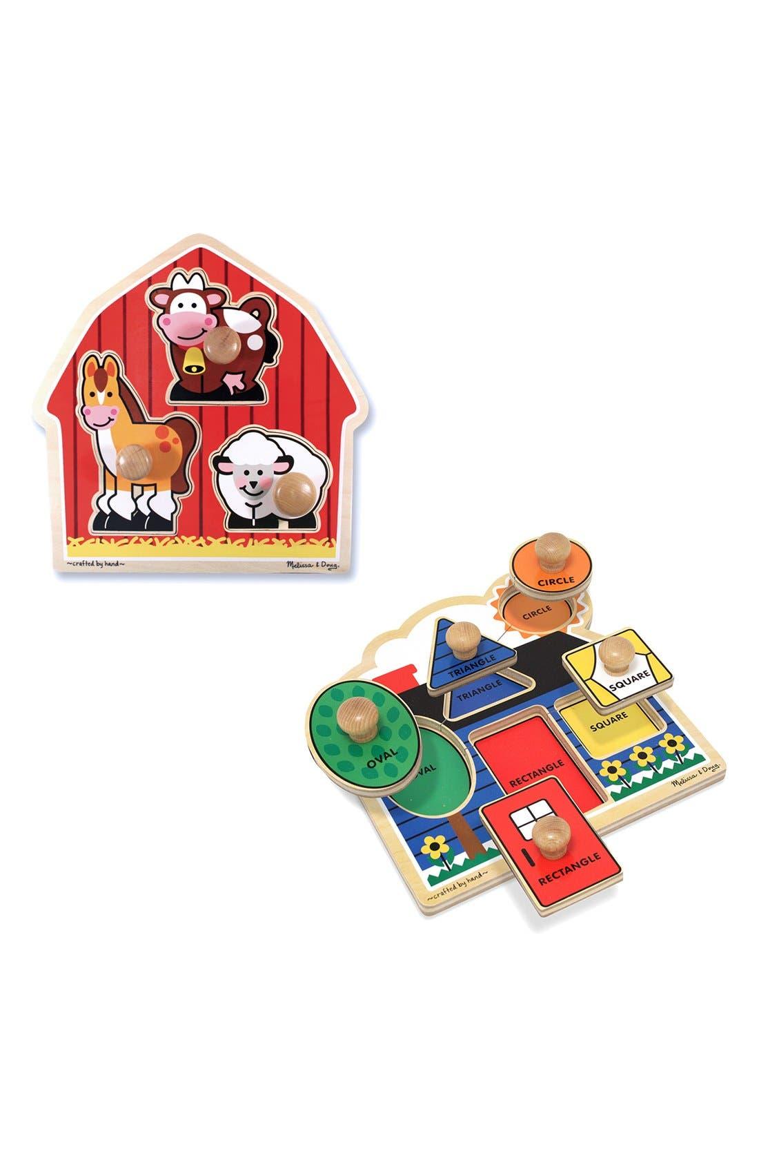 Melissa & Doug Farm & Shape Jumbo Knob Puzzles (Set of 2)