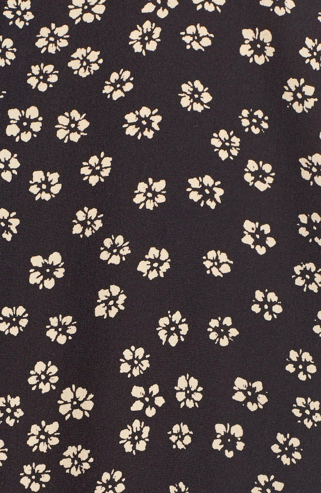 Floral Print Silk Blouse,                             Alternate thumbnail 6, color,                             Charcoal Grey