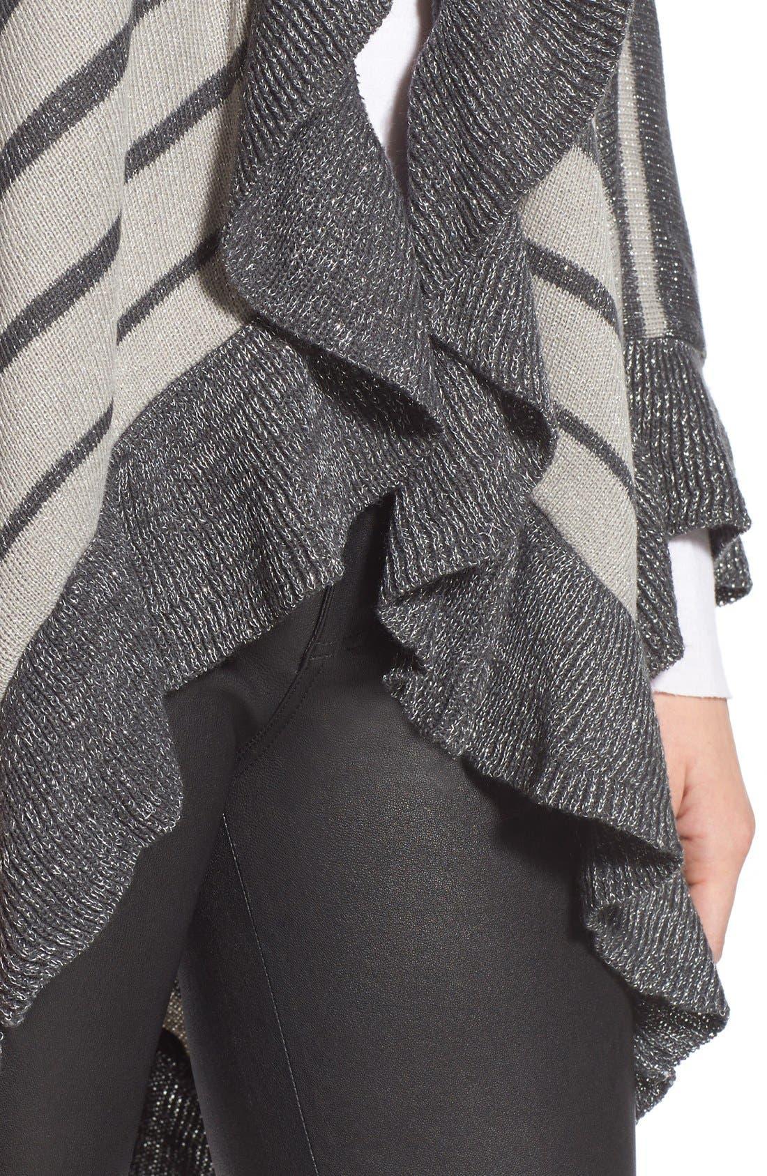 Stripe Shawl,                             Alternate thumbnail 5, color,                             Grey/ Ivory