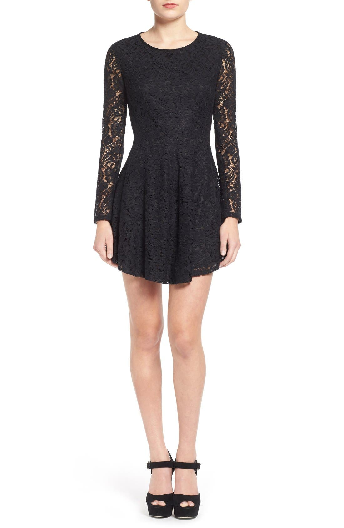 Main Image - Lush Floral Lace Fit & Flare Dress