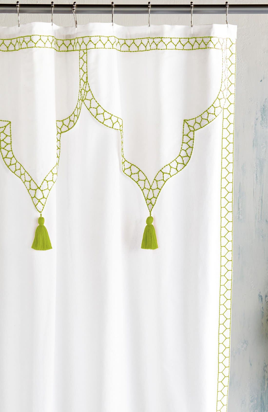 Iswar Shower Curtain,                         Main,                         color, White/ Moss Green