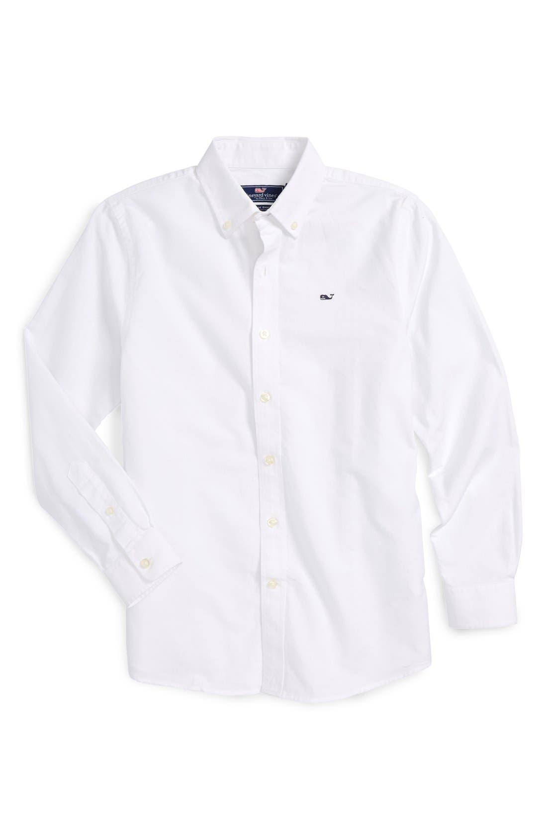 Woven Oxford Shirt,                         Main,                         color, White Cap