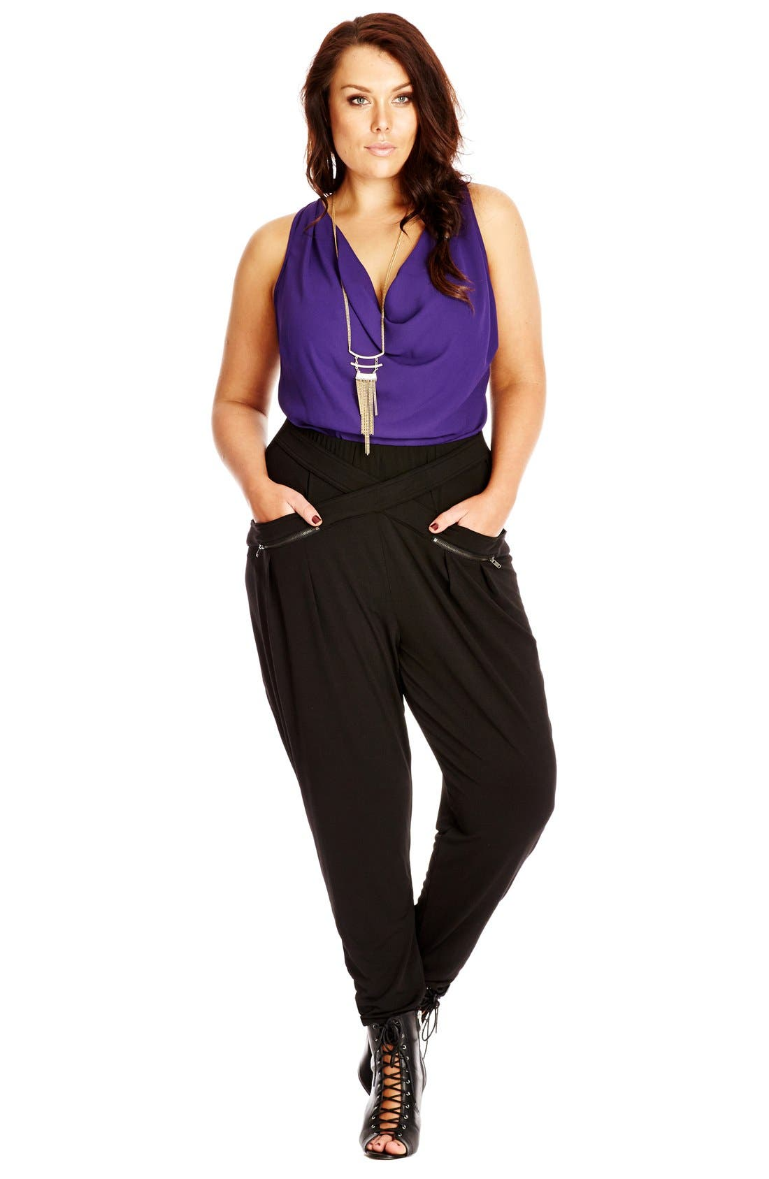 Alternate Image 3  - City Chic Wrap Front Harem Pants (Plus Size)