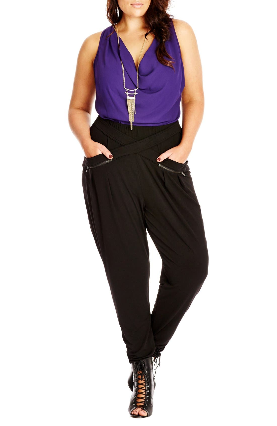 Main Image - City Chic Wrap Front Harem Pants (Plus Size)