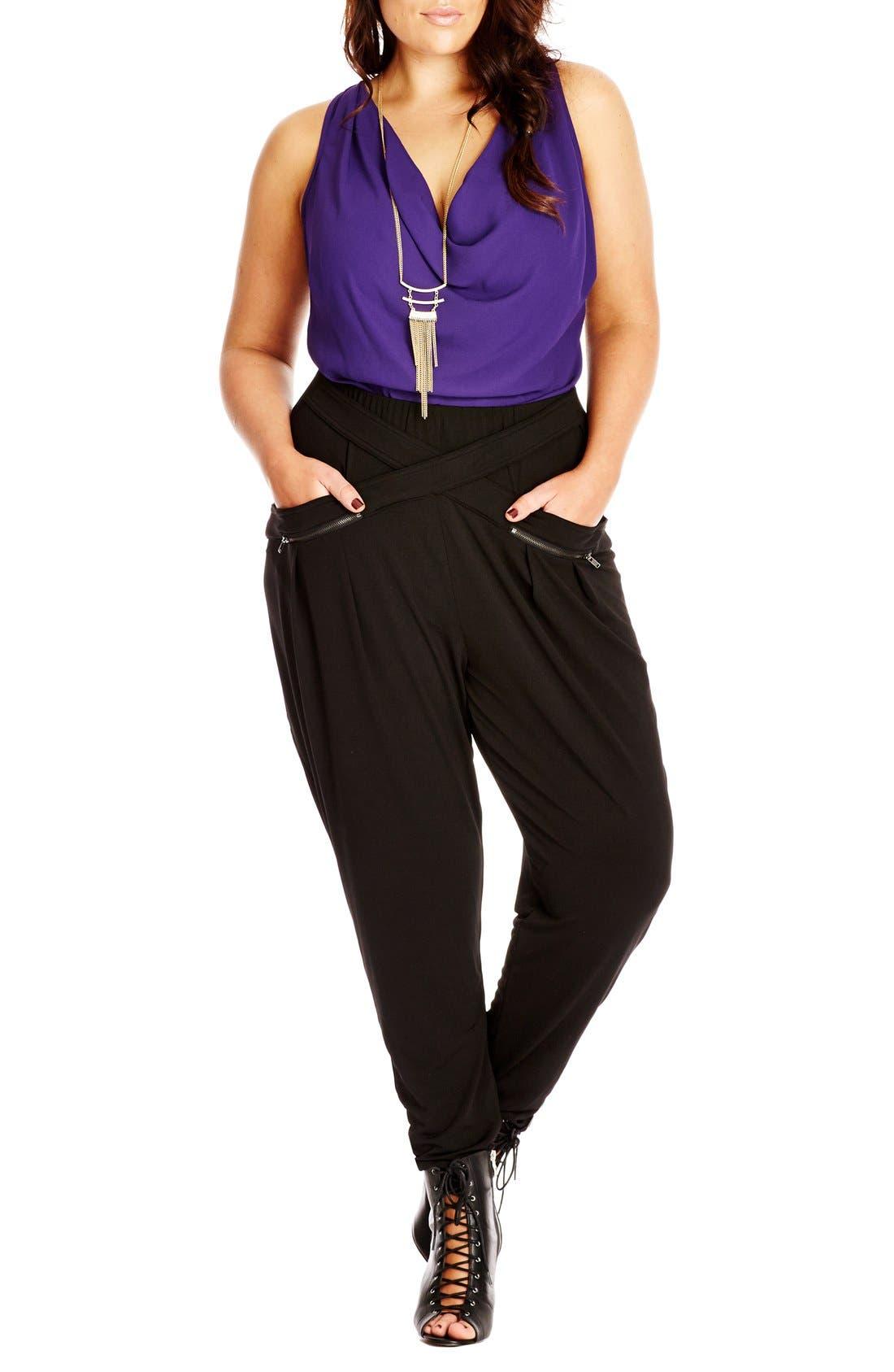 Wrap Front Harem Pants,                         Main,                         color, Black