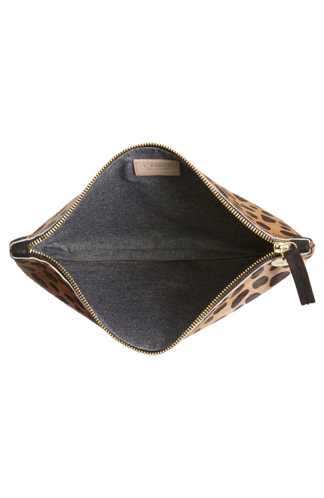 Alternate Image 4  - Clare V. Genuine Calf Hair Leopard Print Zip Clutch