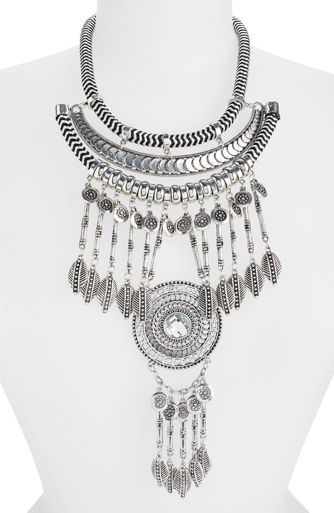 Alternate Image 2  - Leith Crystal Coin Fringe Cord Statement Necklace