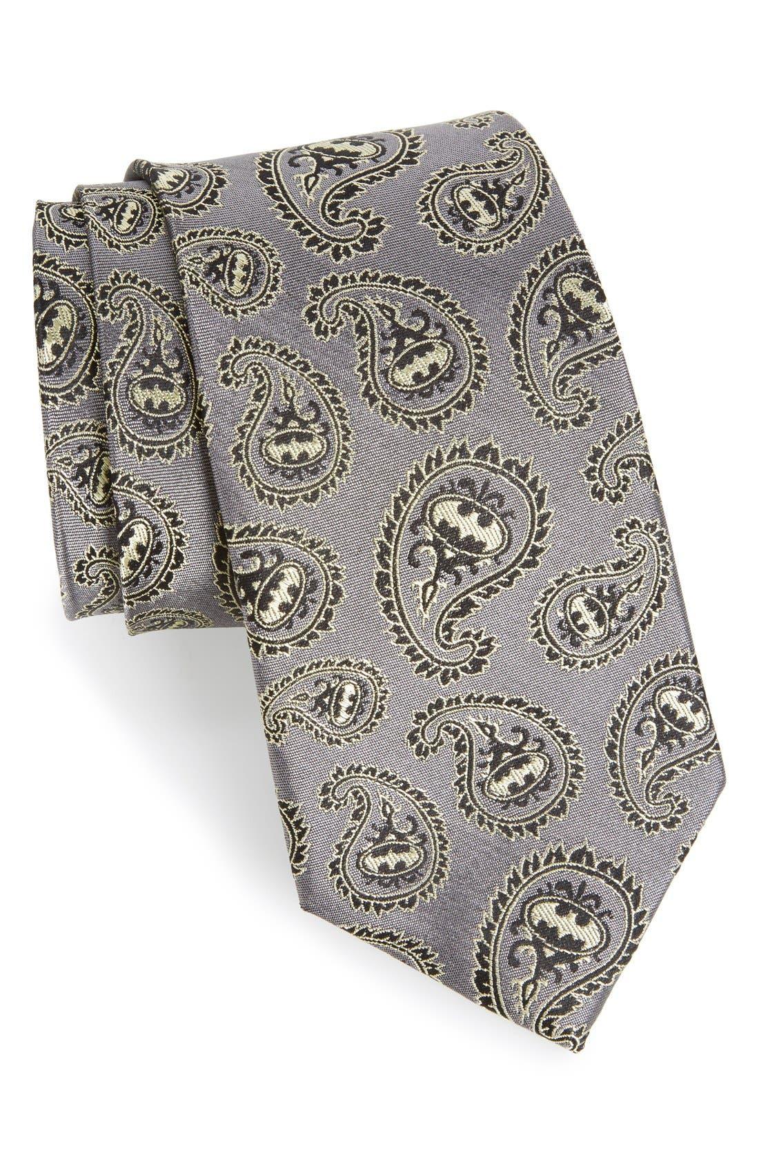 'Batman' Paisley Silk Tie,                         Main,                         color, Grey