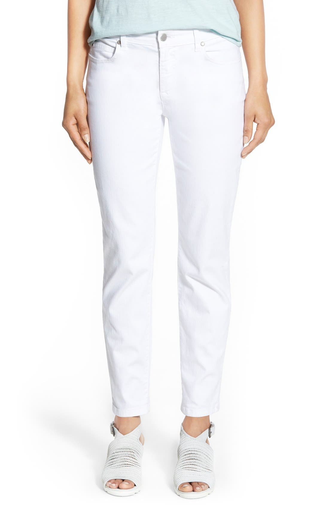 Main Image - Eileen Fisher Stretch Organic Cotton Skinny Jeans (White) (Plus Size)