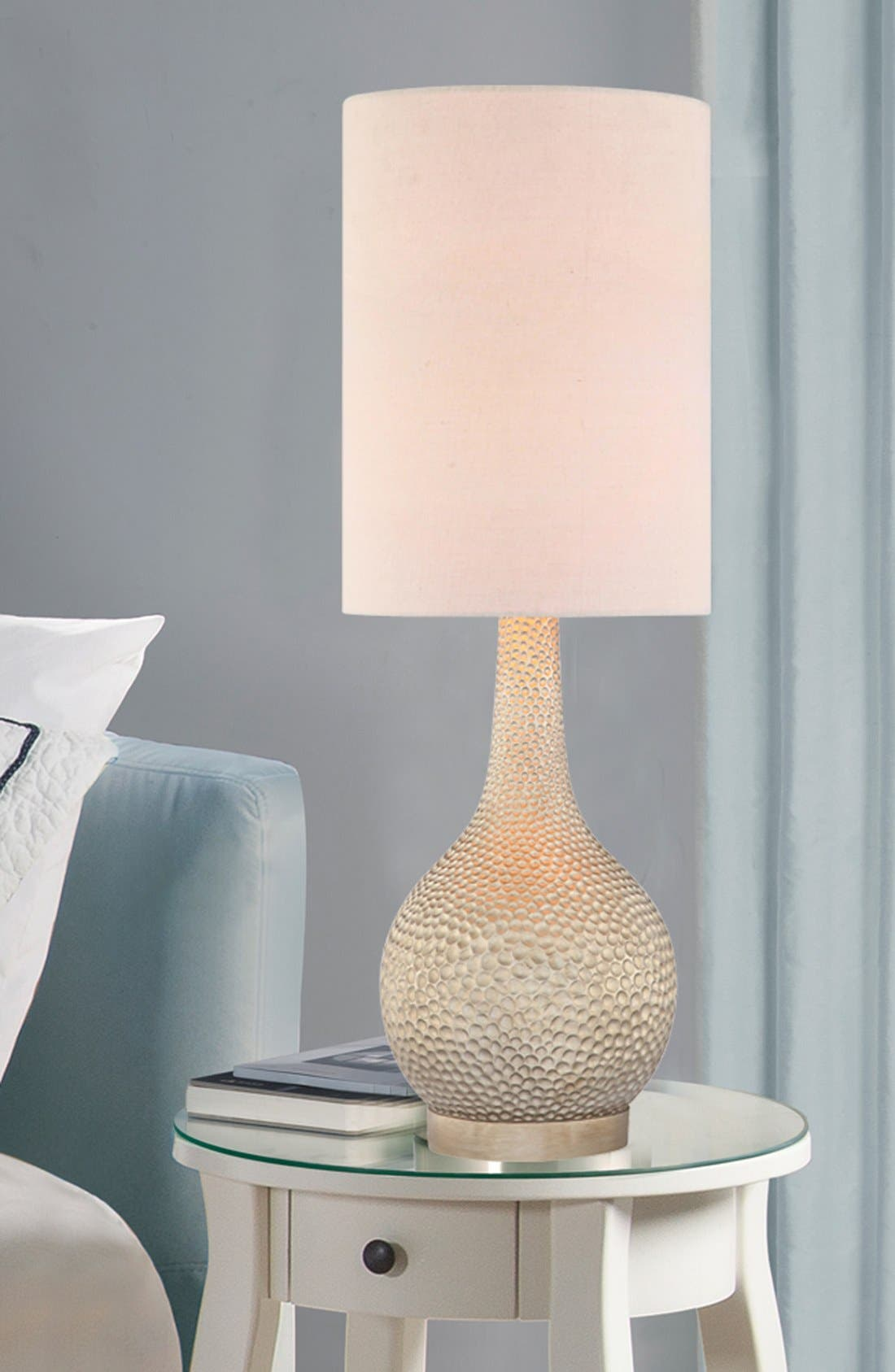 'Champagne Silver' Hammered Metal Table Lamp,                             Alternate thumbnail 2, color,                             Champagne Silver