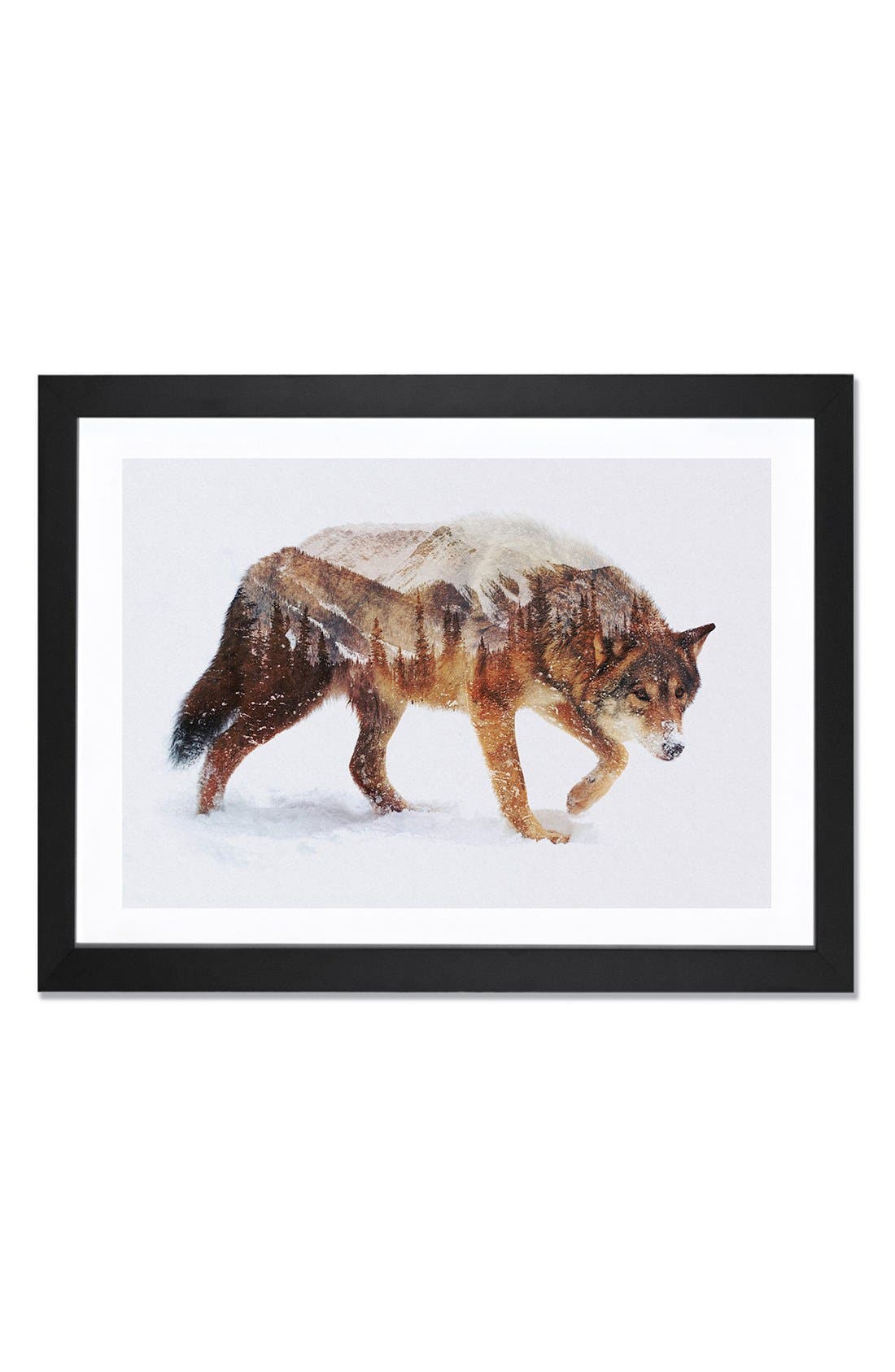 'Arctic Wolf' Framed Fine Art Print,                             Main thumbnail 1, color,                             Brown