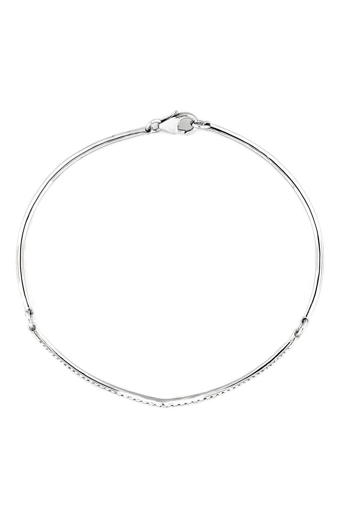 Pavé Diamond Bangle Bracelet,                             Main thumbnail 1, color,                             White Gold