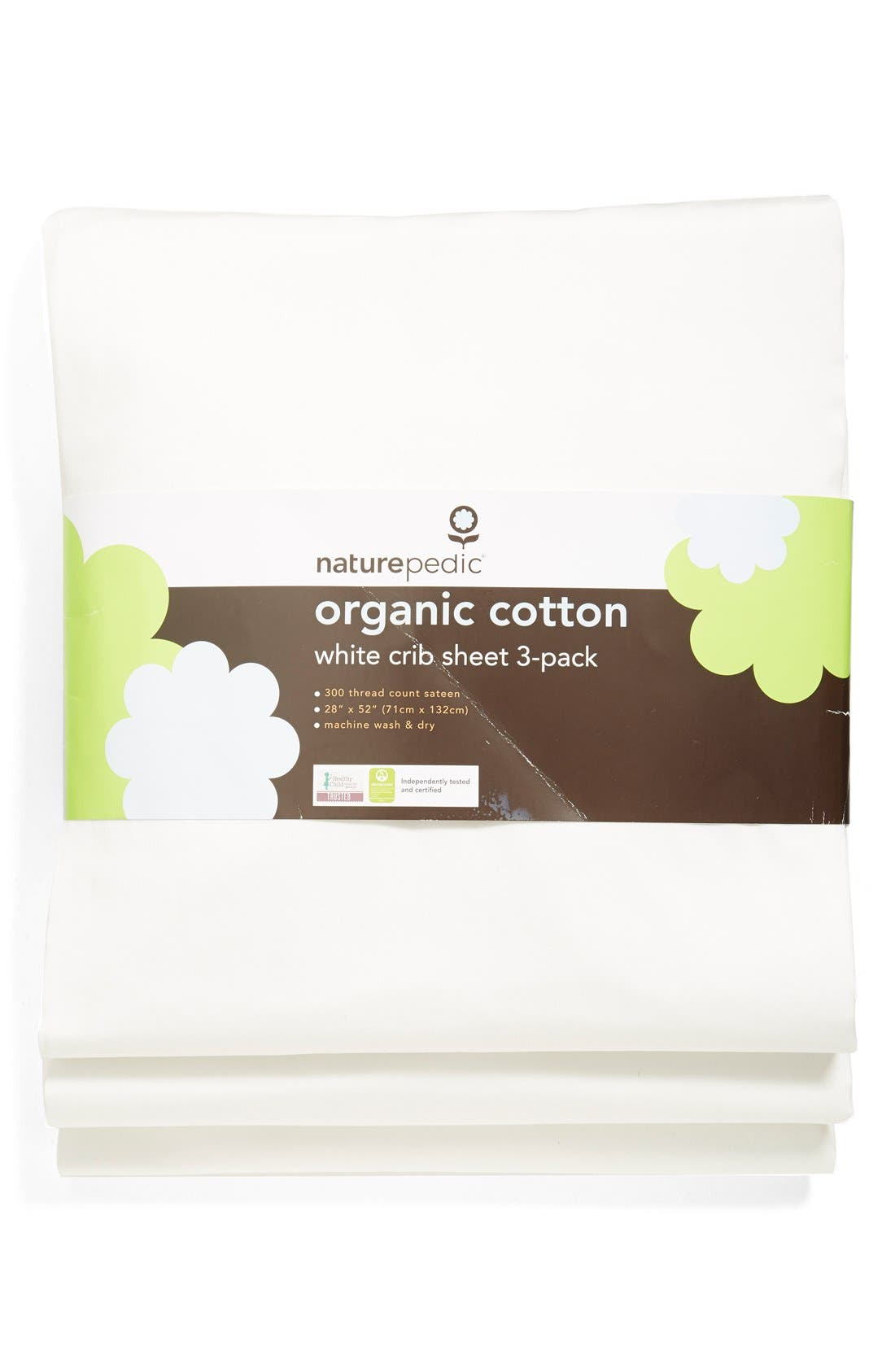 300 Thread Count Organic Cotton Crib Sheet,                             Main thumbnail 1, color,                             White