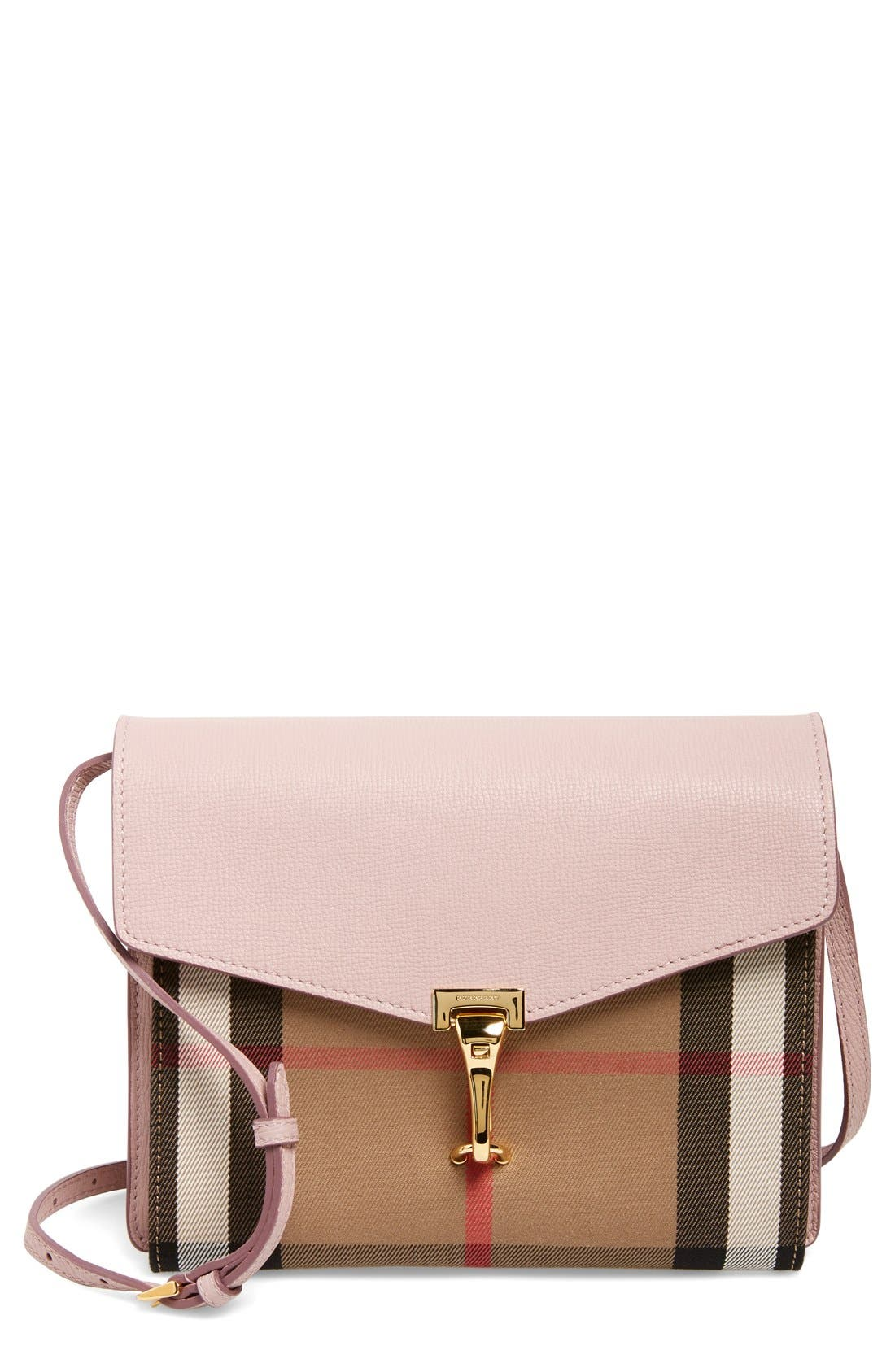 'Small Macken' Check Crossbody Bag,                             Main thumbnail 1, color,                             Pale Orchid