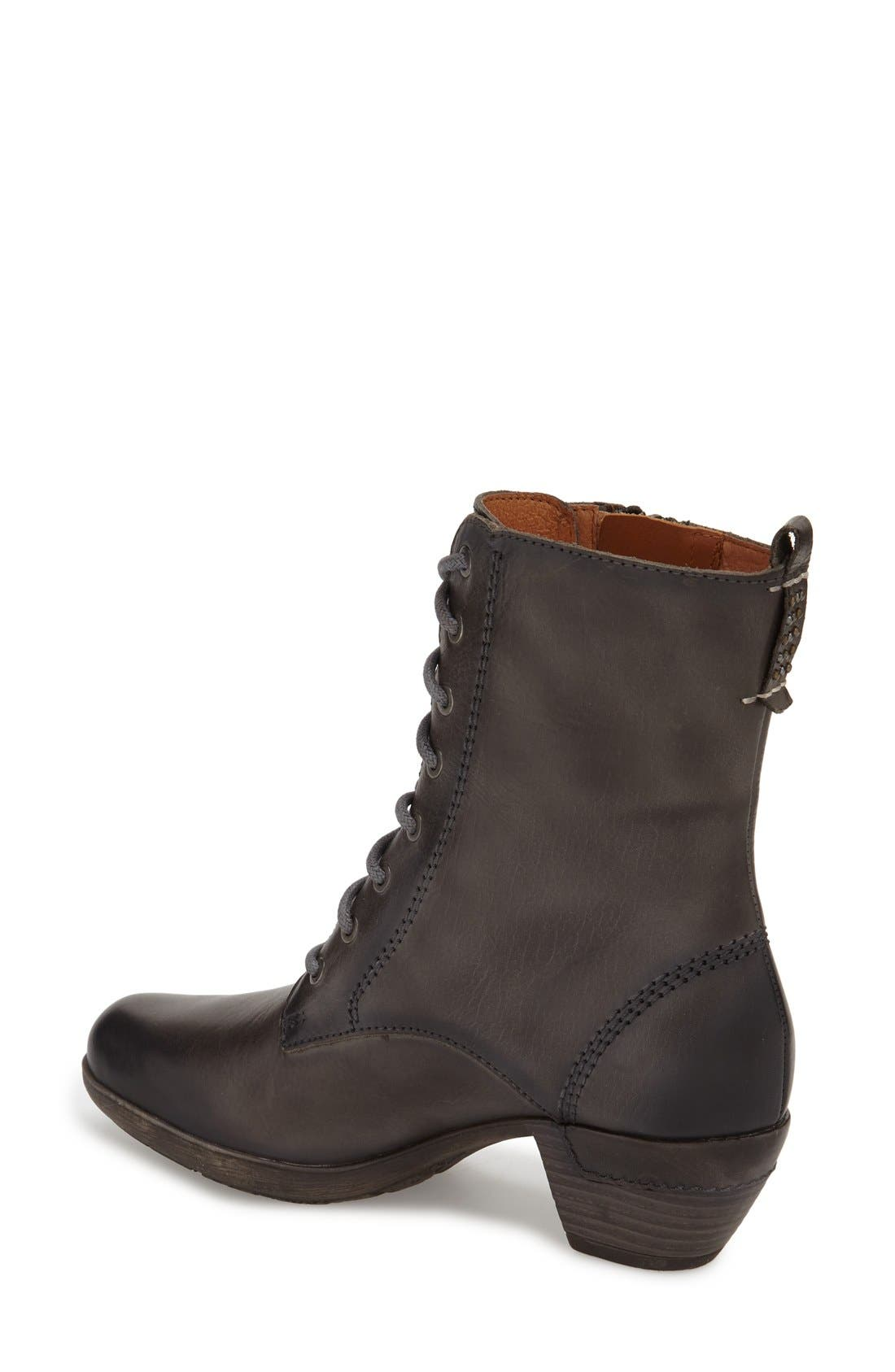 'Rotterdam' Lace-Up Boot,                             Alternate thumbnail 2, color,                             Lead Leather