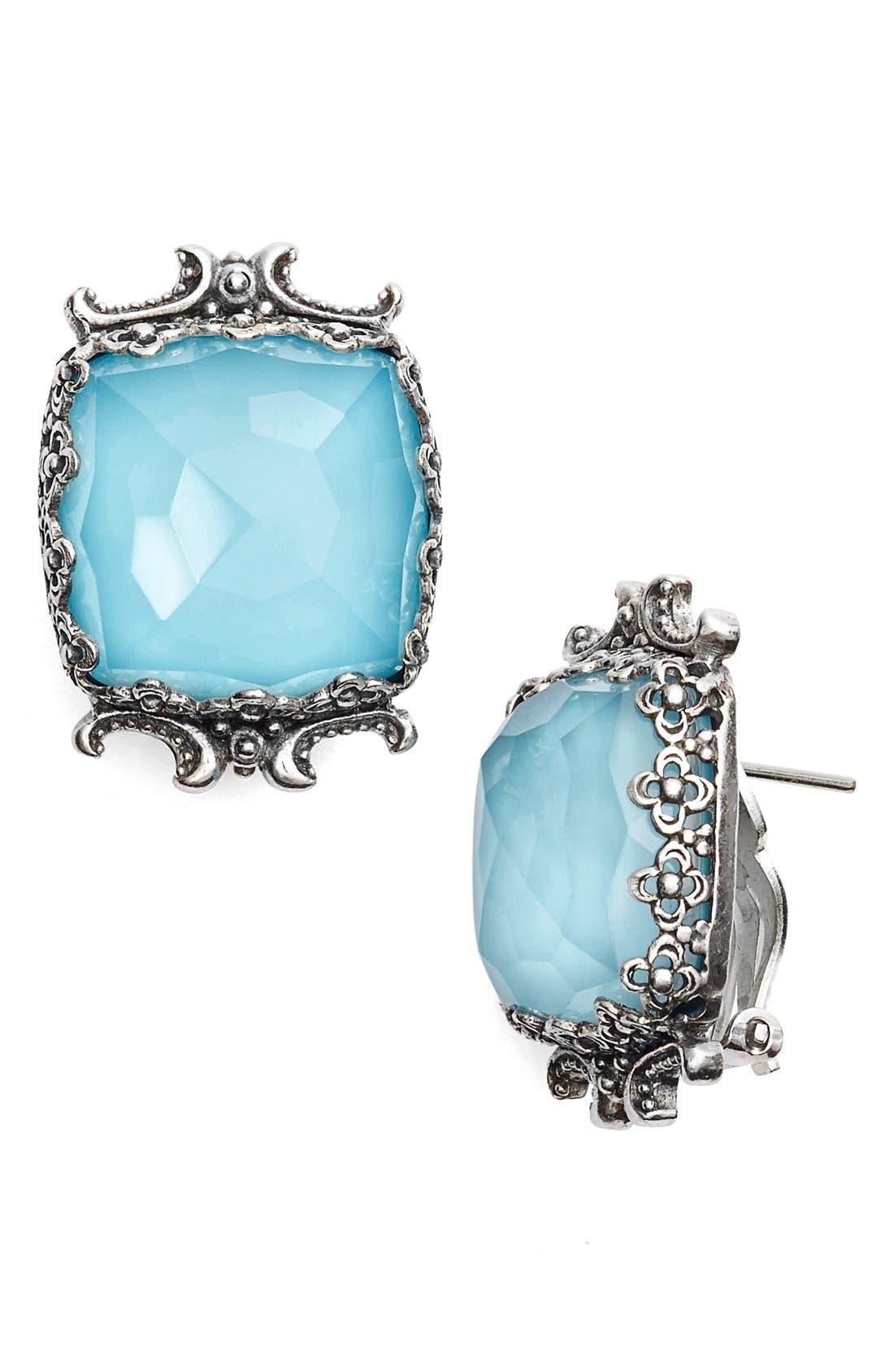 'Aegean' Clip Earrings,                         Main,                         color, Silver/ Blue Rock Crystal