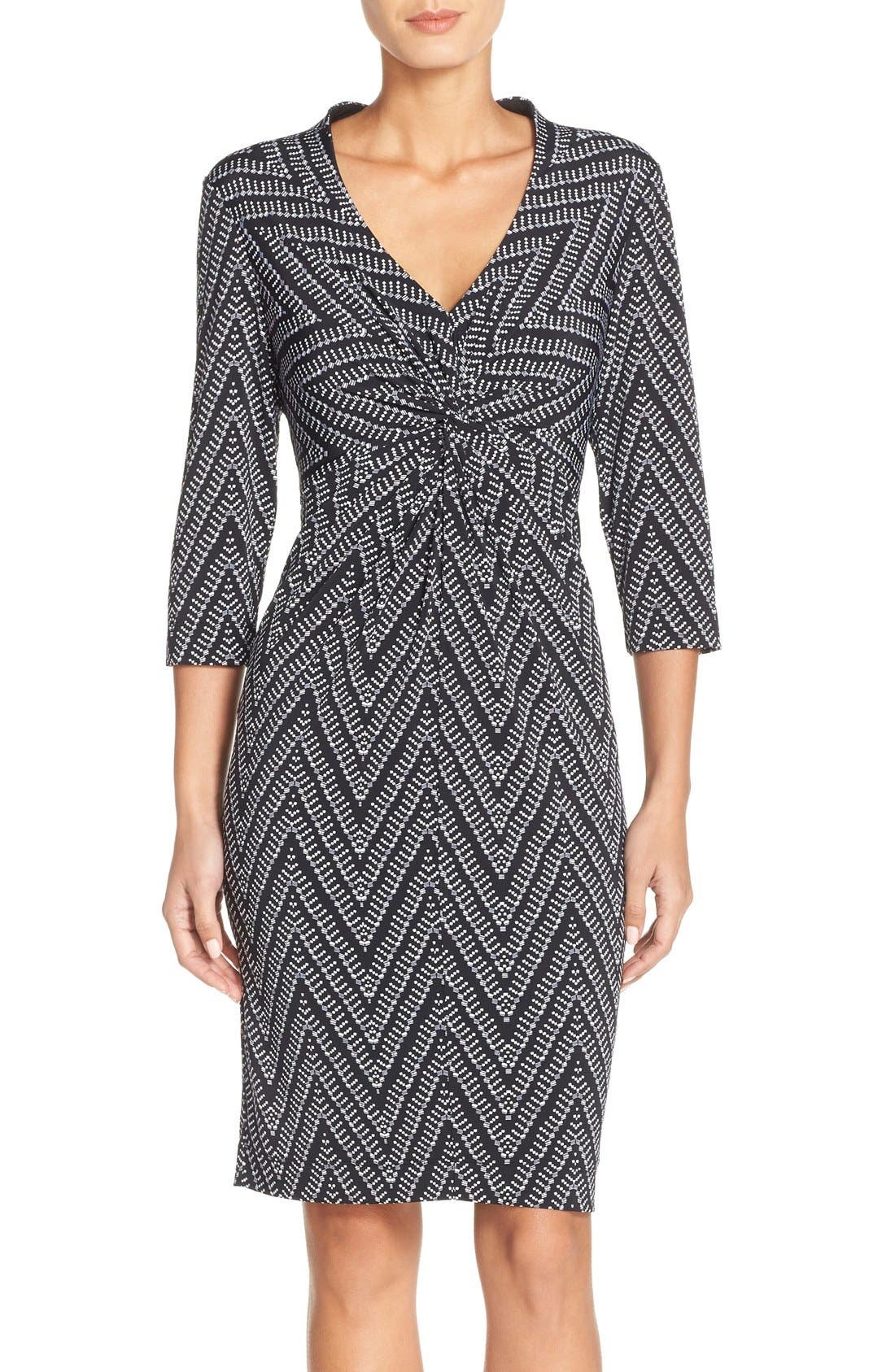 Donna Ricco Print Jersey Sheath Dress