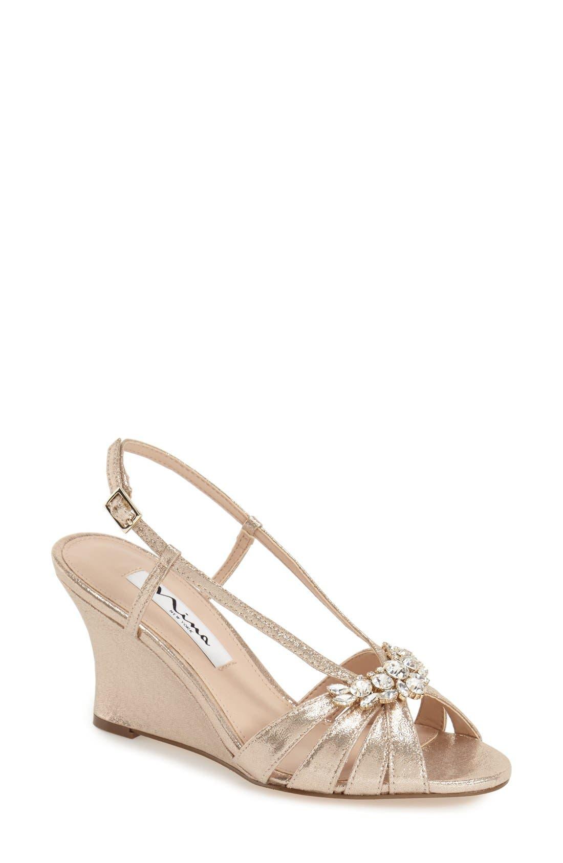 'Voleta' Wedge Sandal,                         Main,                         color, Taupe