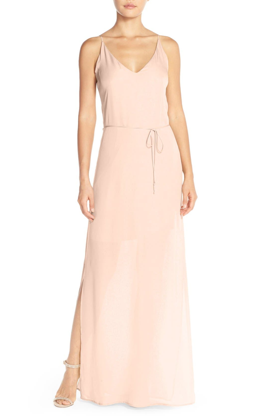 MAIDS Rory Beca 'Harlow' Belted Silk Georgette Deep V-Back Gown
