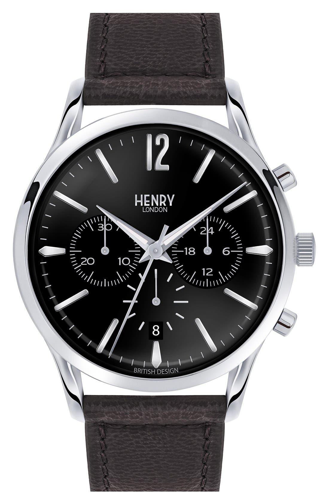 'Edgeware' Chronograph Leather Strap Watch, 41mm,                         Main,                         color, Black/ Black