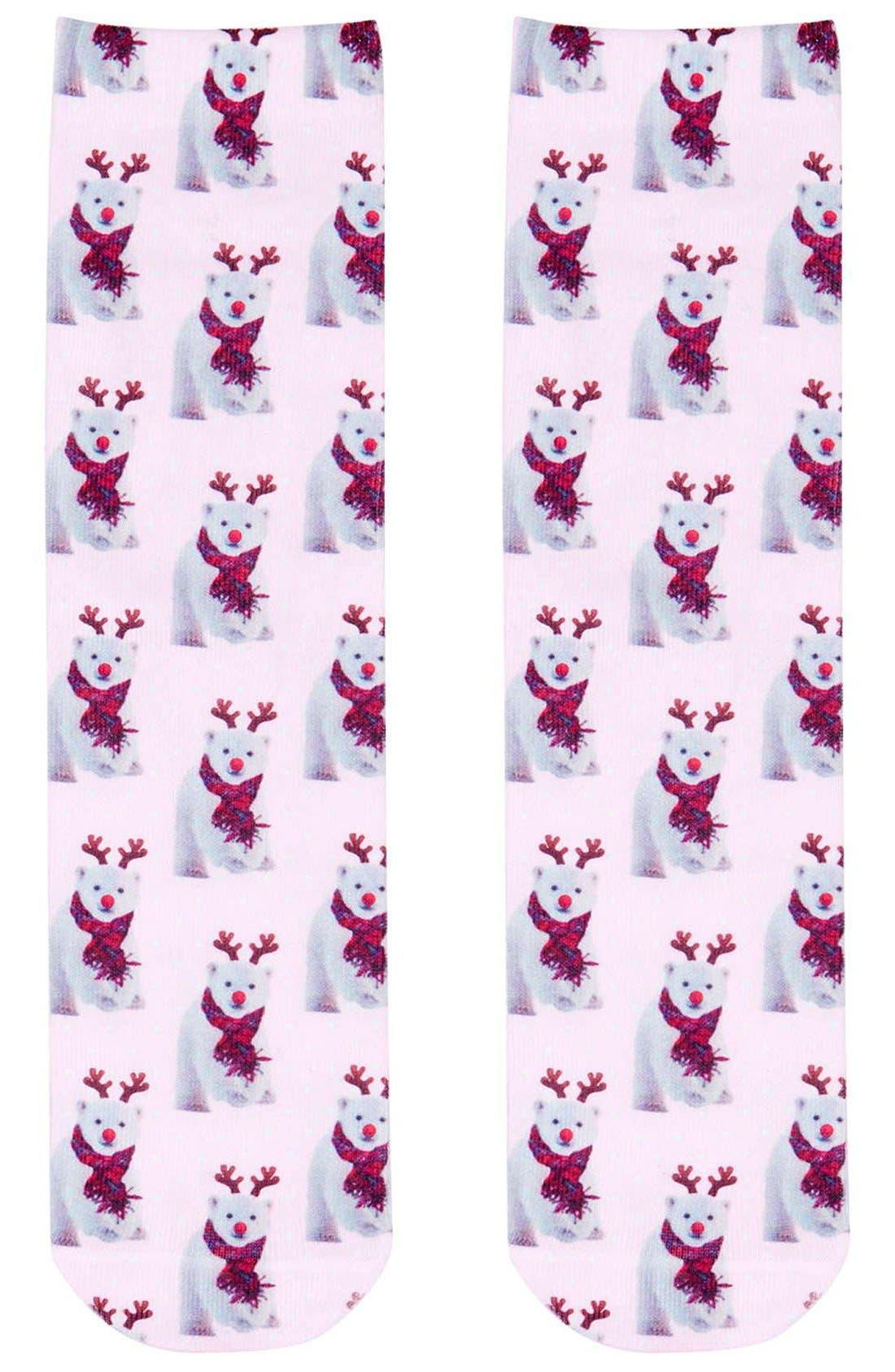 Main Image - Topshop Digital Bear Holiday Socks