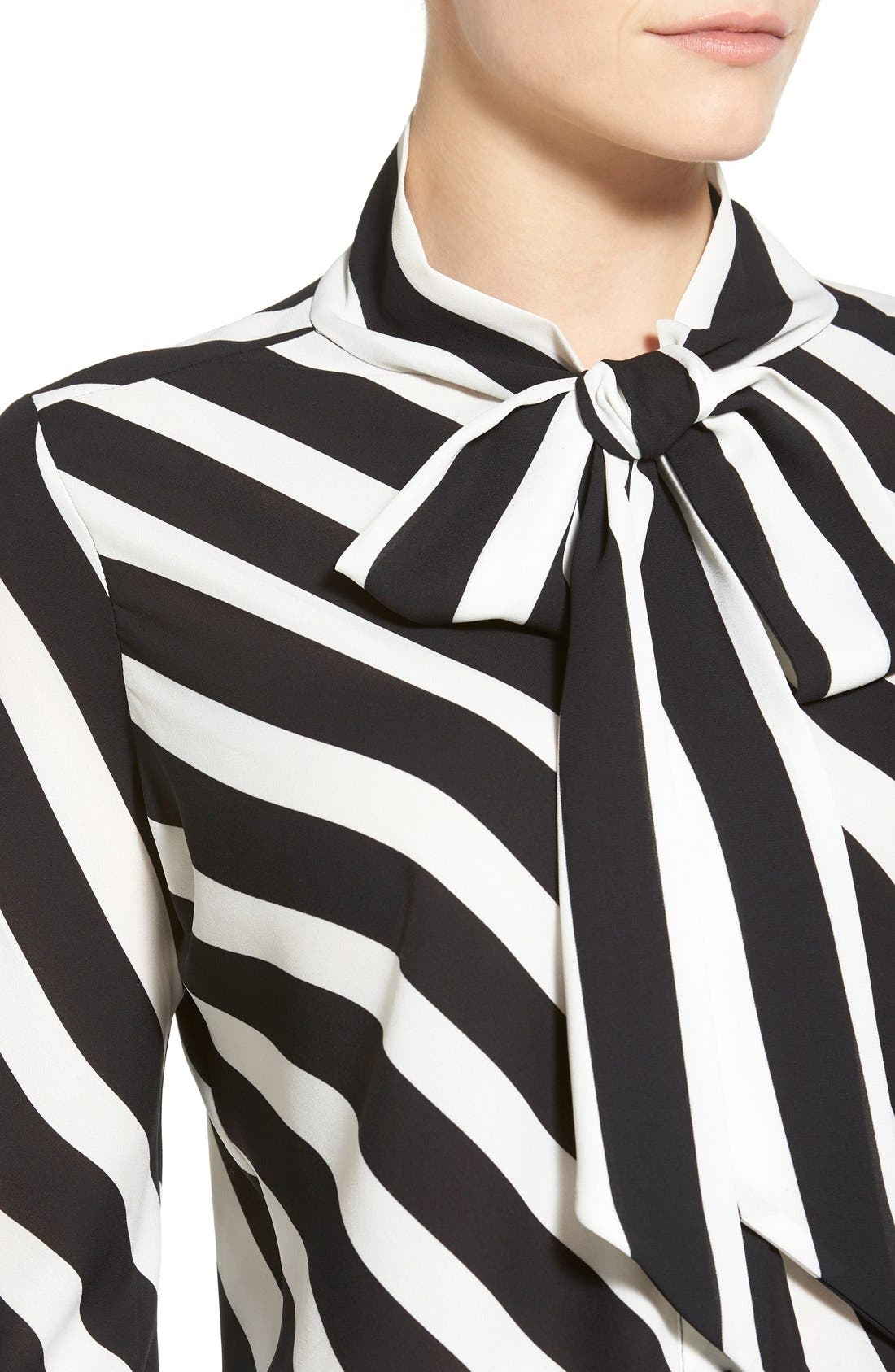 Alternate Image 4  - Vince Camuto 'Runway Stripe' Tie Neck Blouse
