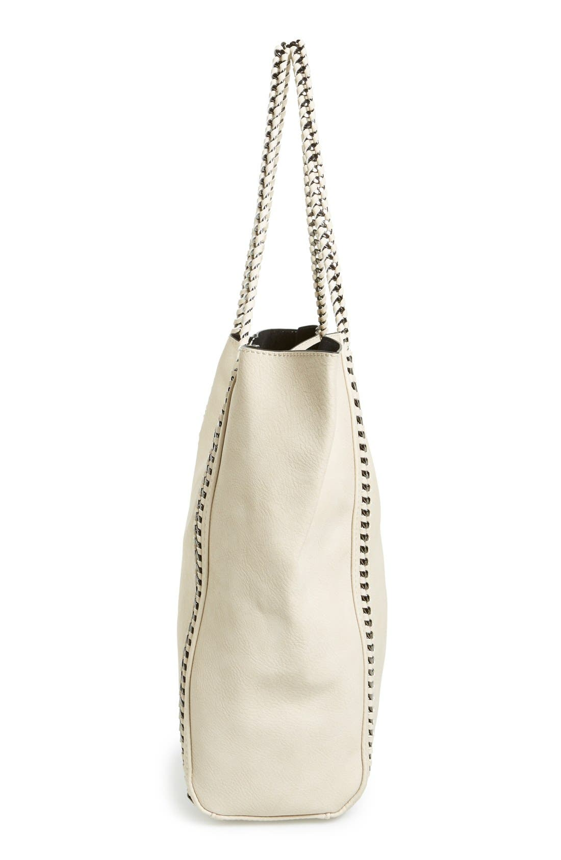 Chain Faux Leather Tote,                             Alternate thumbnail 5, color,                             Tan Greige