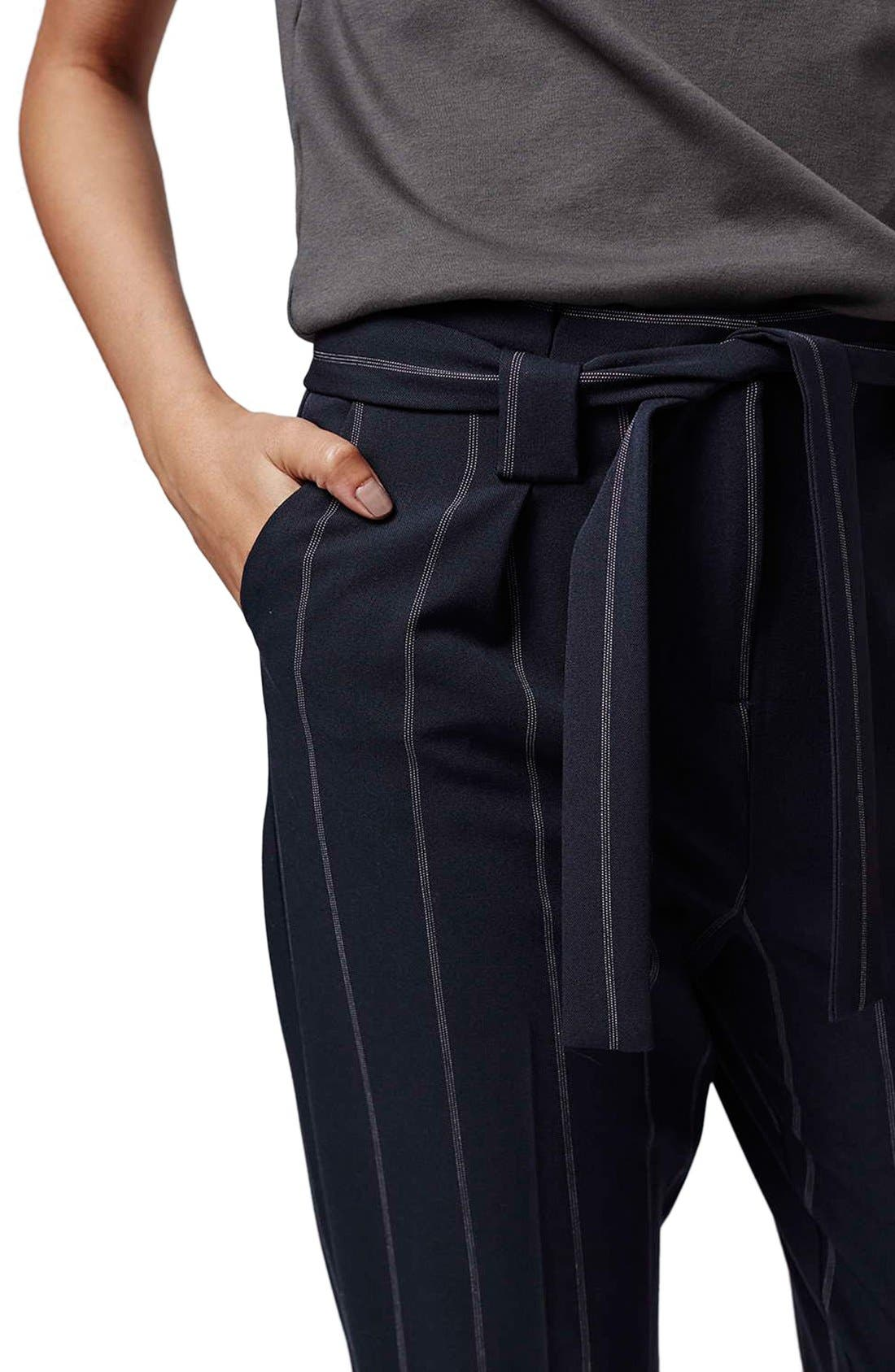 Alternate Image 5  - Topshop Belted Pinstripe Pants (Regular & Petite)