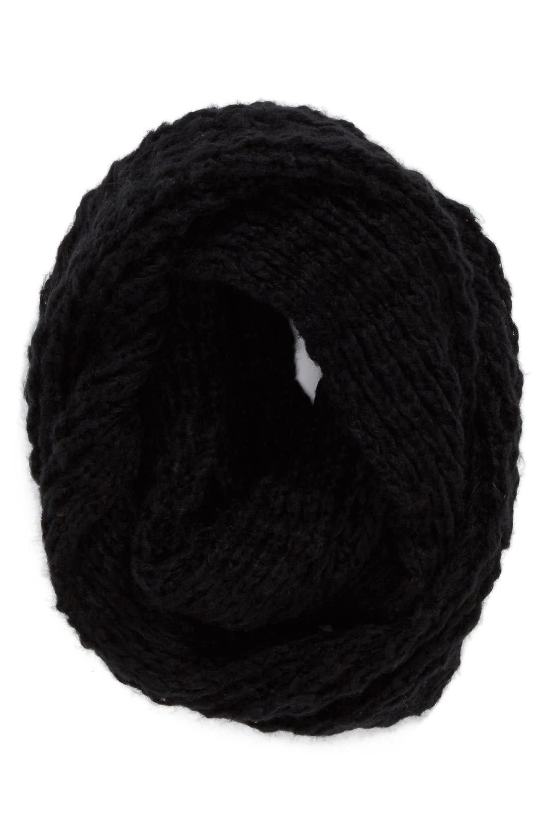 Waffle Knit Infinity Scarf,                         Main,                         color, Black