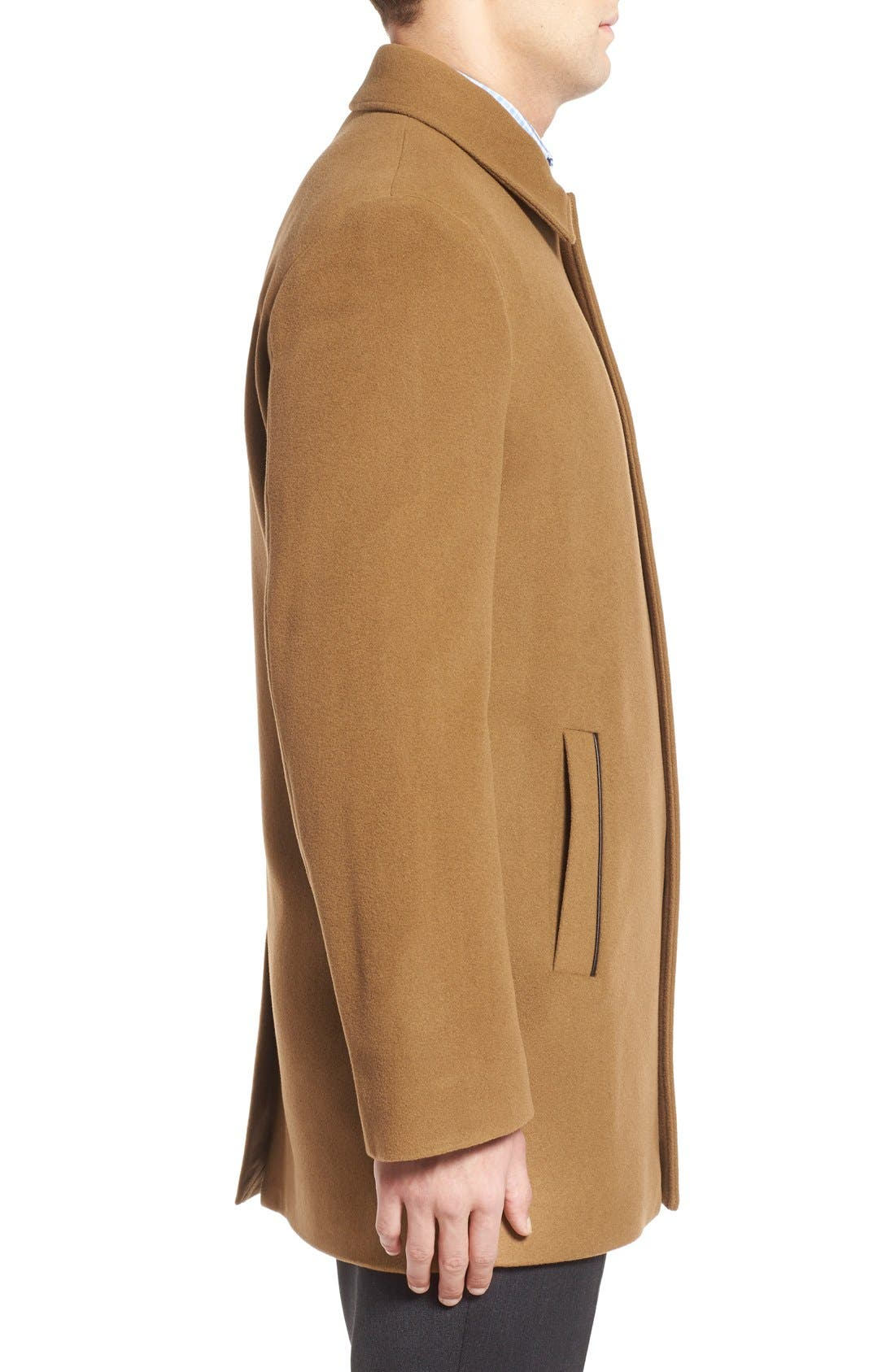Italian Wool Blend Overcoat,                             Alternate thumbnail 3, color,                             Camel