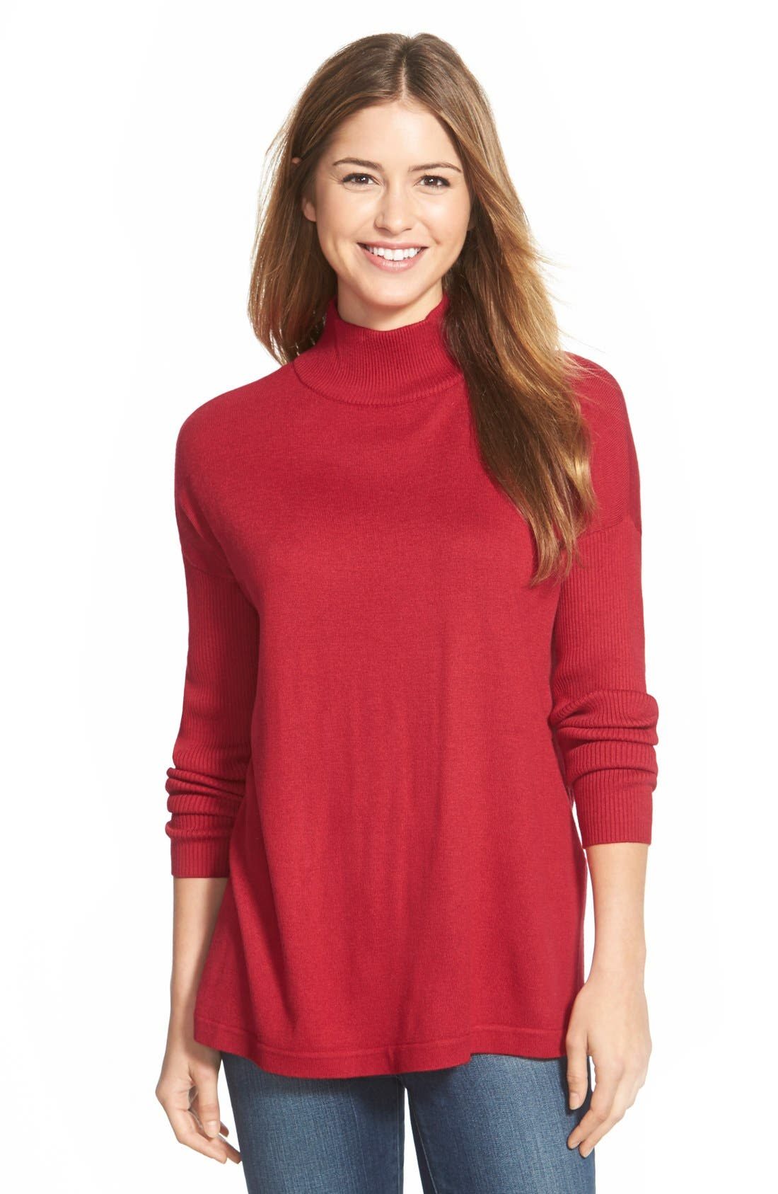 Main Image - Vince CamutoRibbed Sleeve Mock Neck Sweater (Regular & Petite)