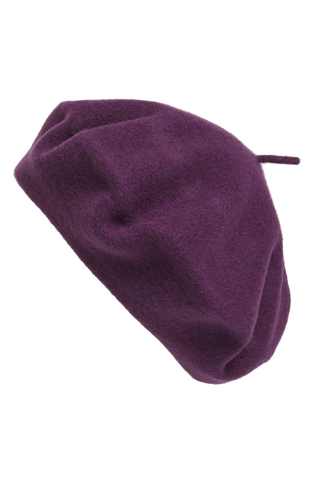 'Classic' Wool Beret,                         Main,                         color, Eggplant