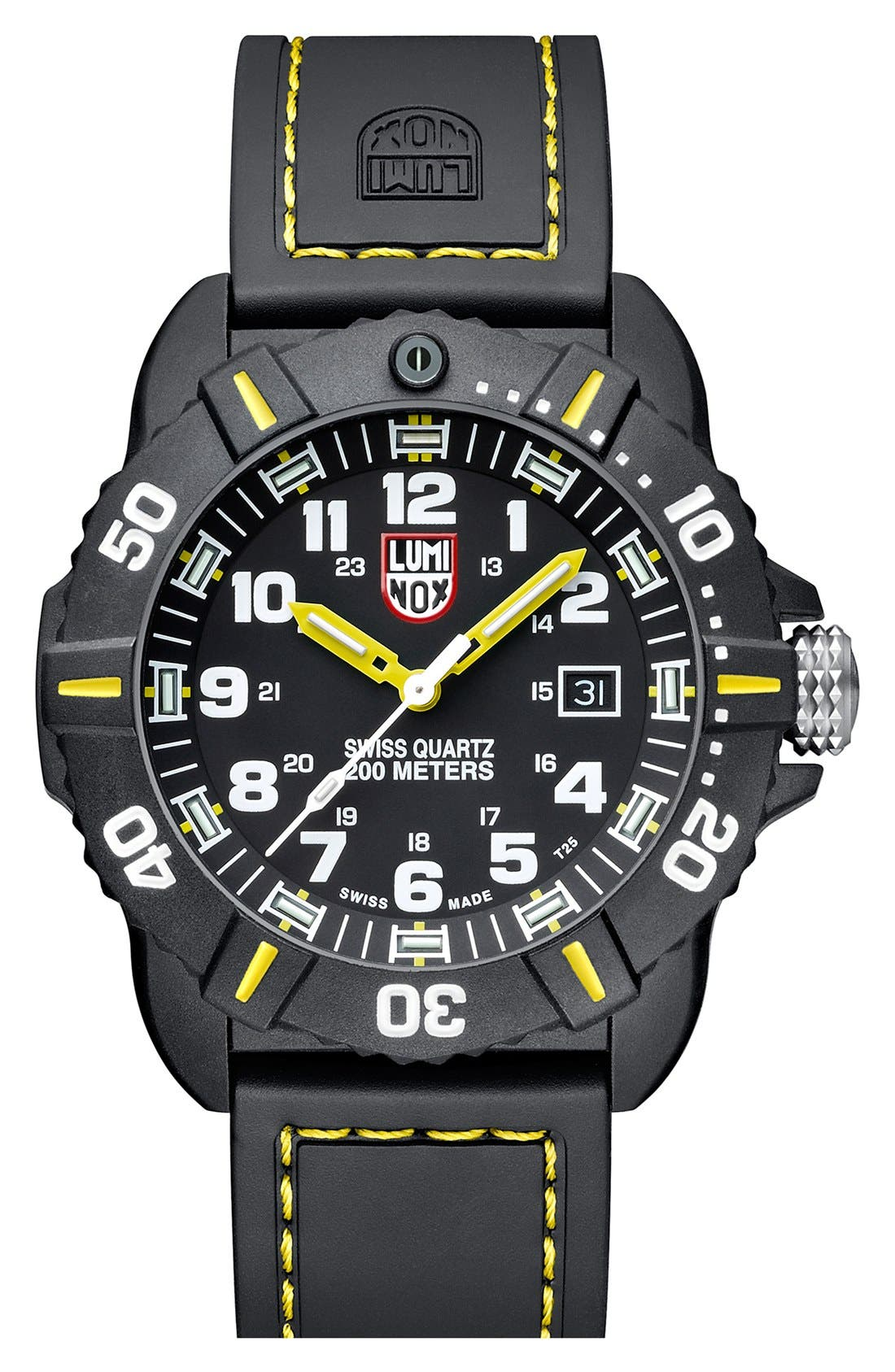 Alternate Image 1 Selected - Luminox 'Coronado' Rubber Strap Watch, 44mm