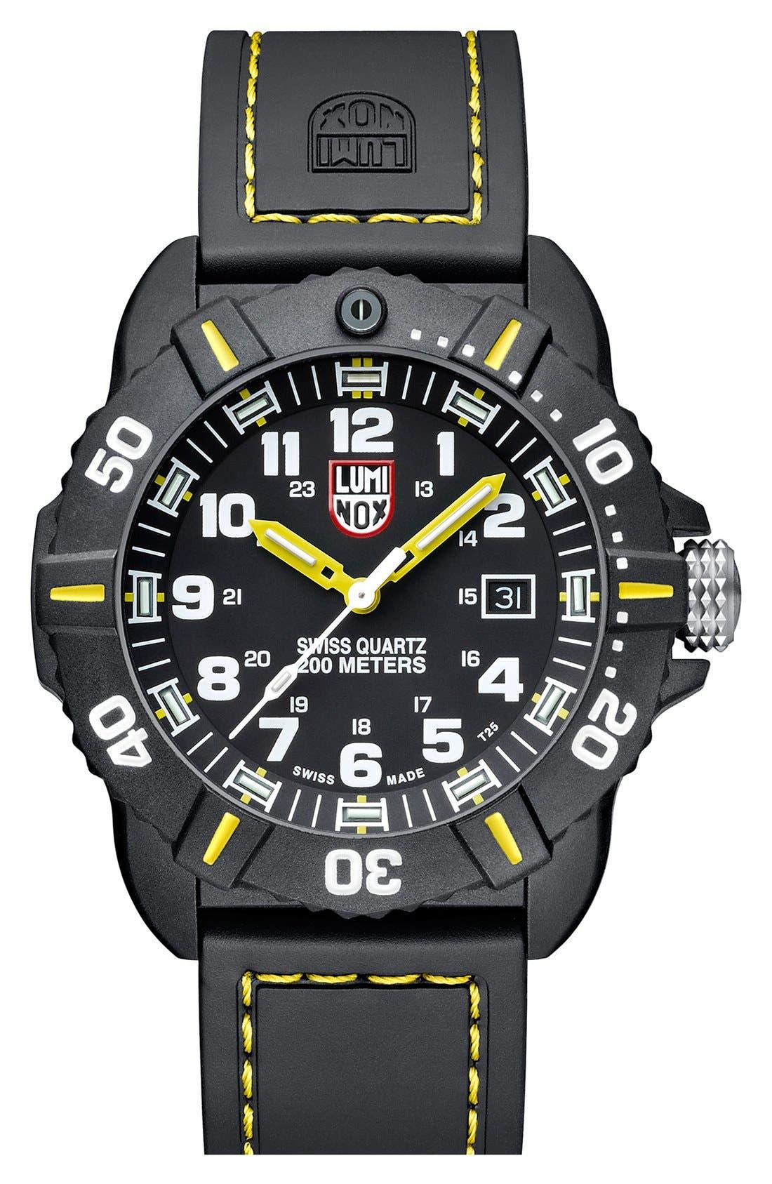 'Coronado' Rubber Strap Watch, 44mm,                         Main,                         color, Black/ Yellow