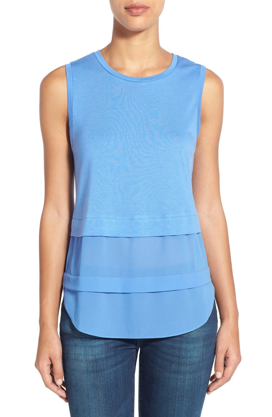Alternate Image 1 Selected - MICHAEL Michael Kors Mixed Media Sleeveless Top (Regular & Petite)