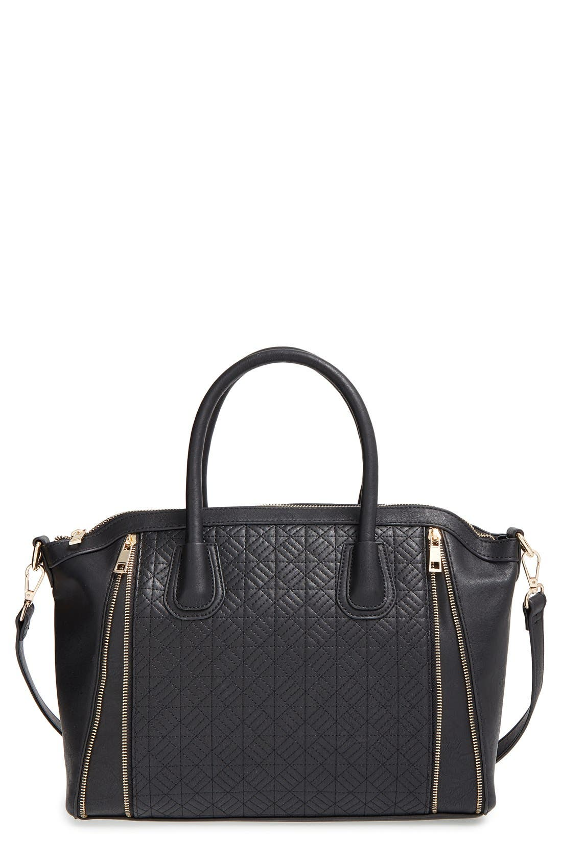 Quilted Satchel,                         Main,                         color, Black/ Gold