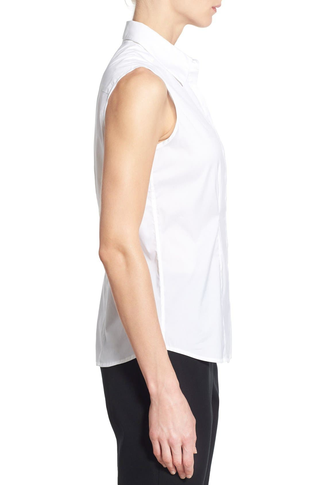 Sleeveless Blouse,                             Alternate thumbnail 3, color,                             White