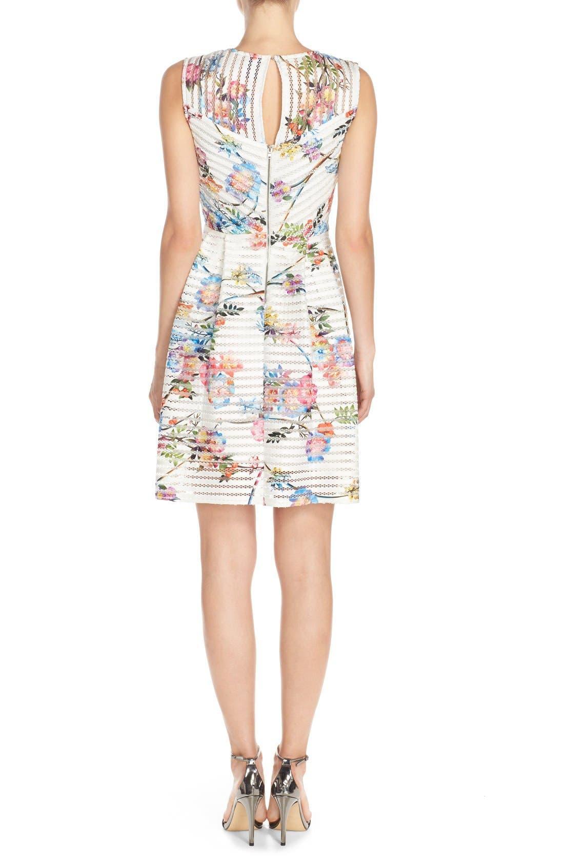 Alternate Image 2  - Gabby Skye Floral Scuba Mesh Fit & Flare Dress