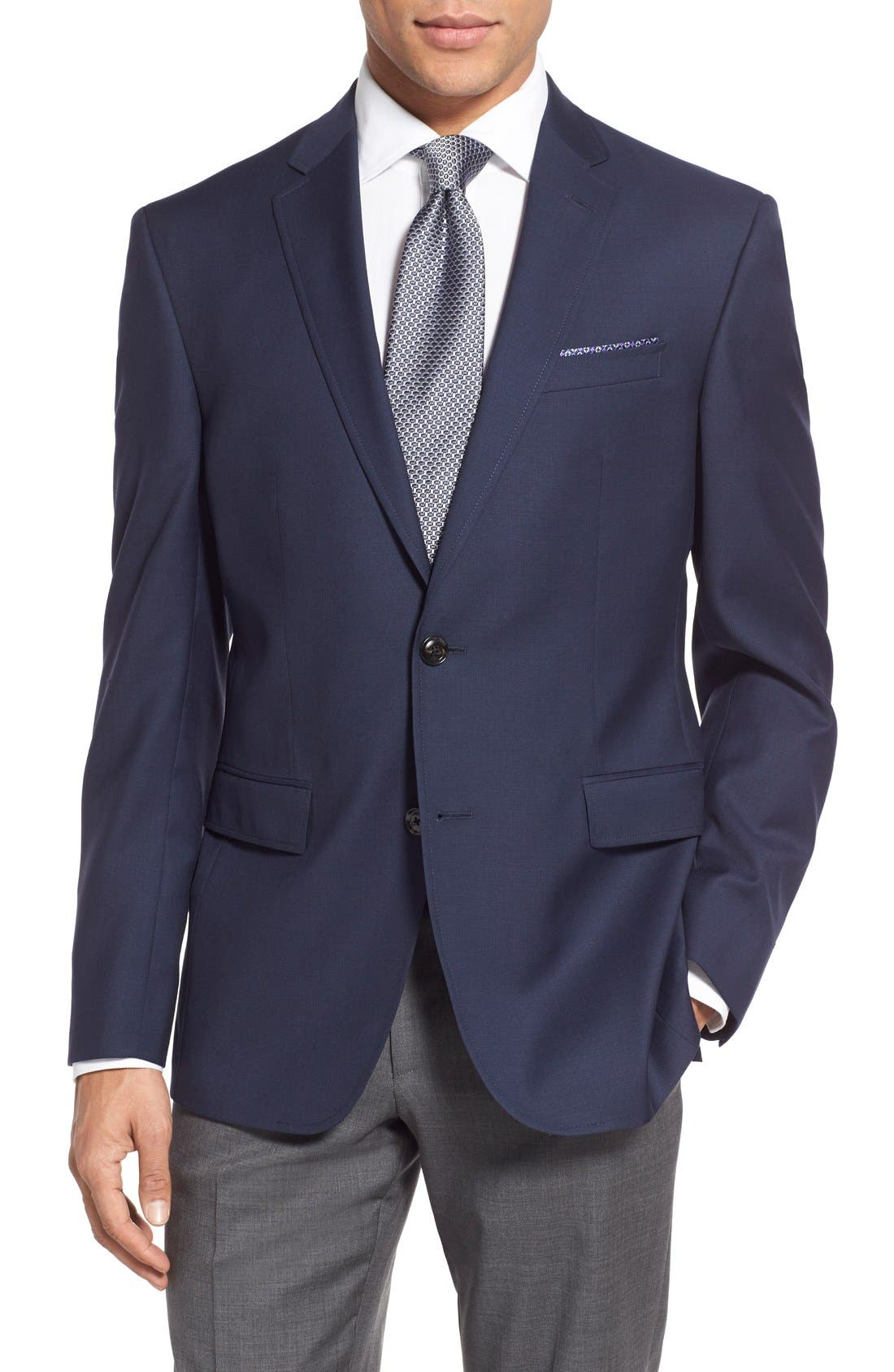 Trevi Trim Fit Wool Blazer,                         Main,                         color, Navy