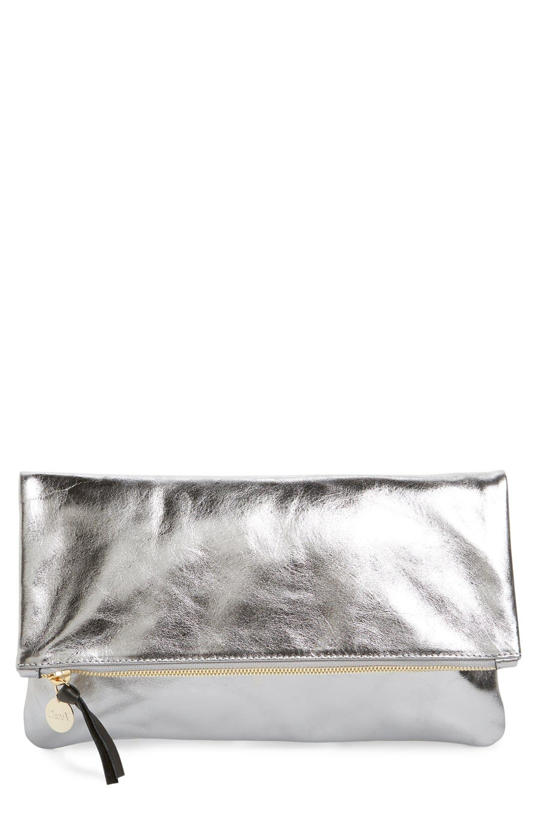 Clare V. 'Maison' Metallic Leather Foldover Clutch