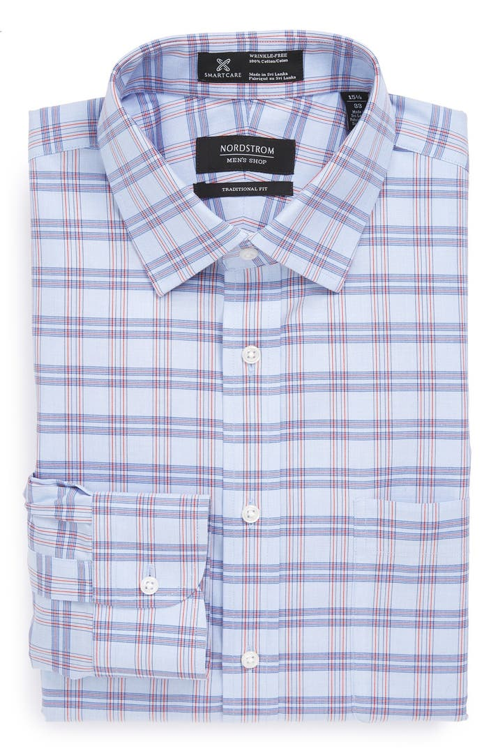 Nordstrom men 39 s shop smartcare traditional fit wrinkle Best wrinkle free dress shirts