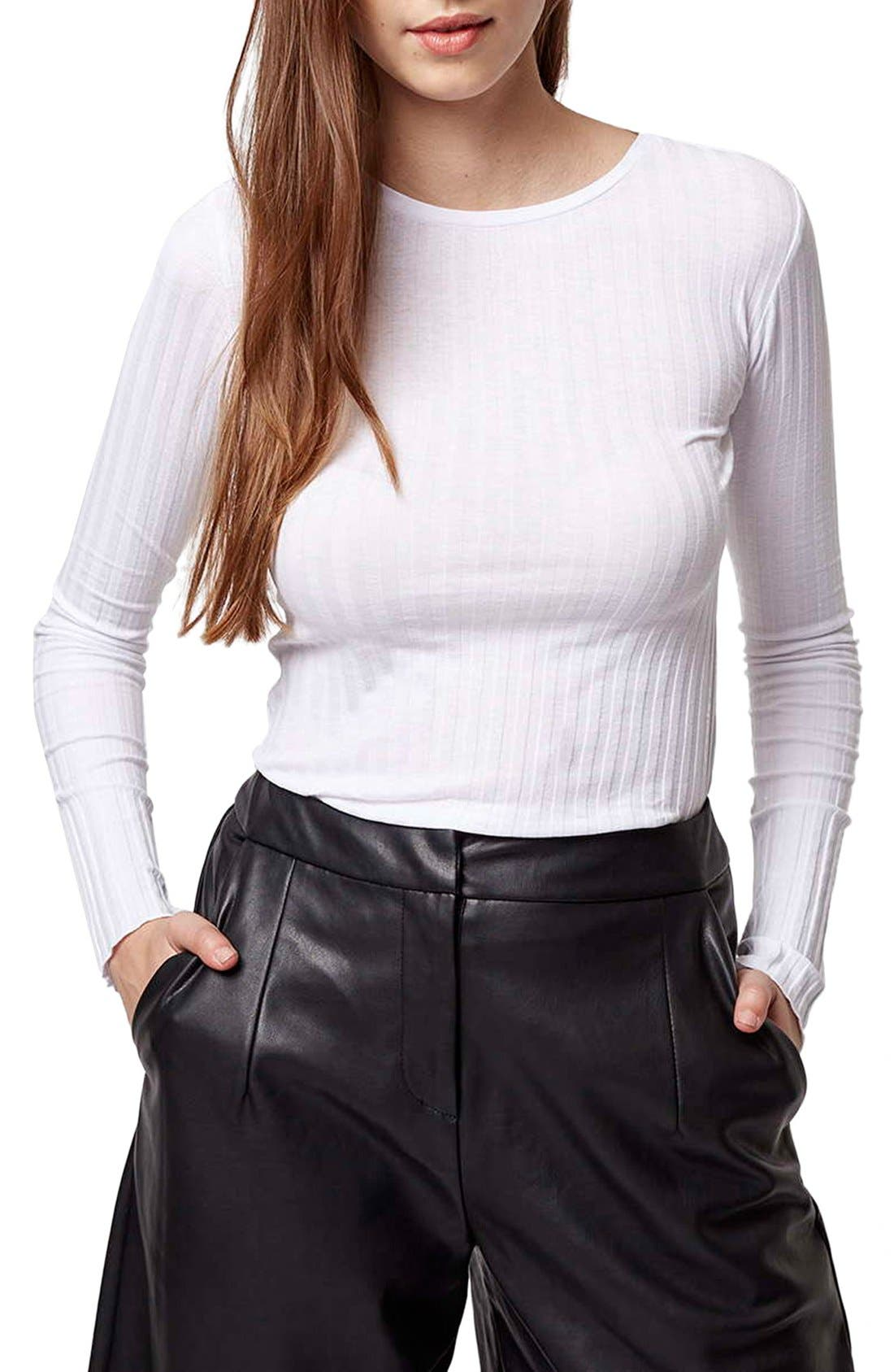 Alternate Image 1 Selected - Topshop Ribbed Long Sleeve Top