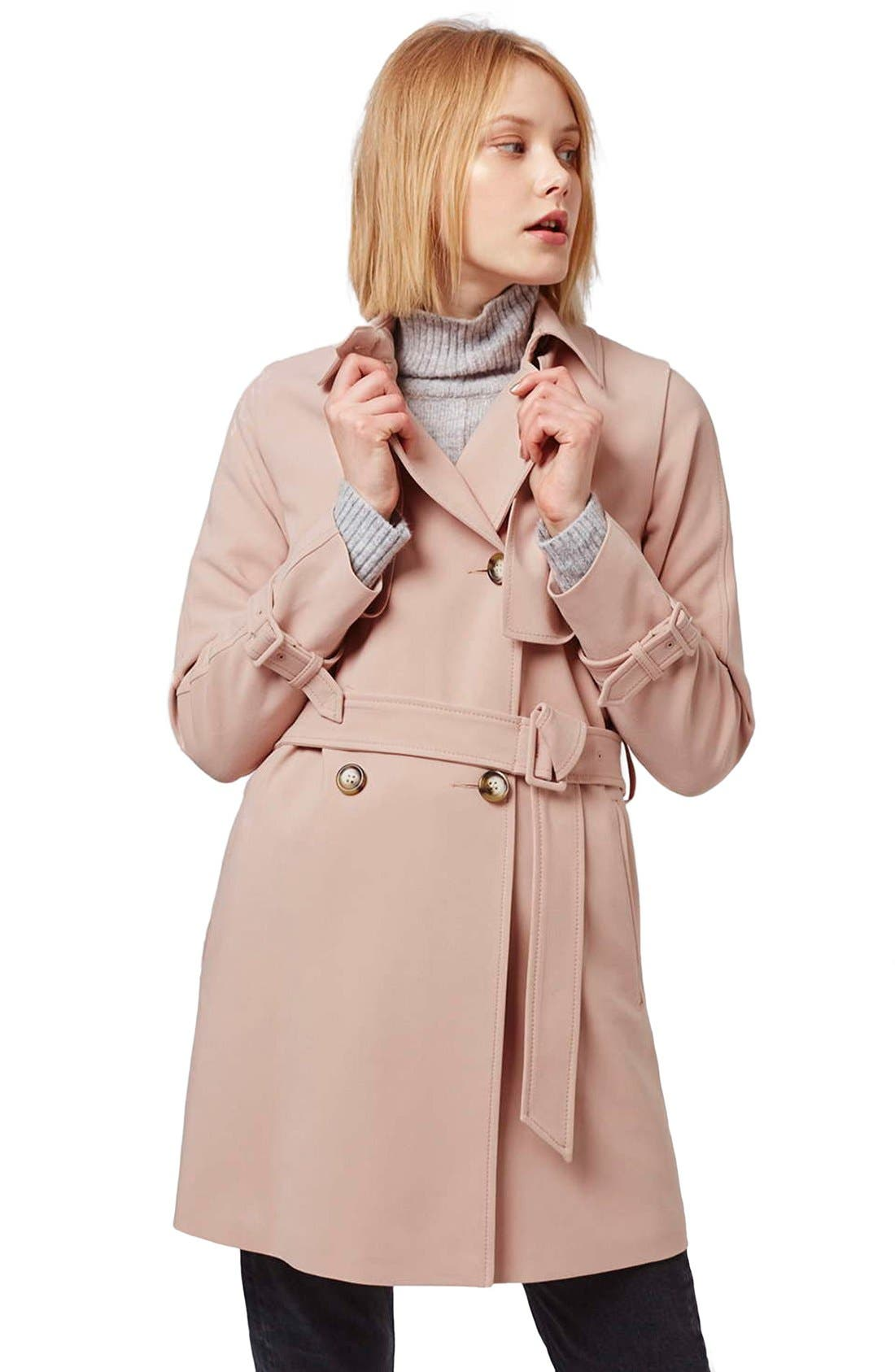 Tailored Double Breasted Coat,                             Alternate thumbnail 2, color,                             Light Pink