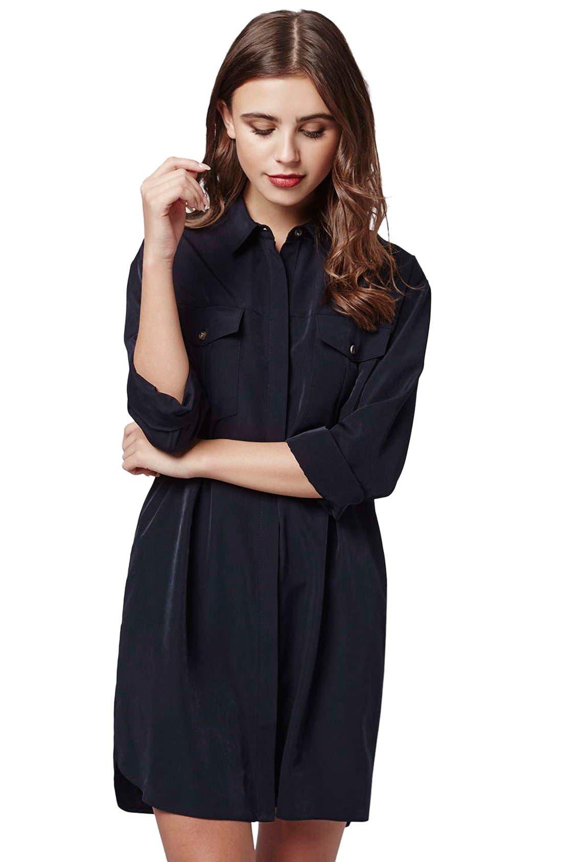 Main Image - Topshop Oversize Shirtdress (Petite)