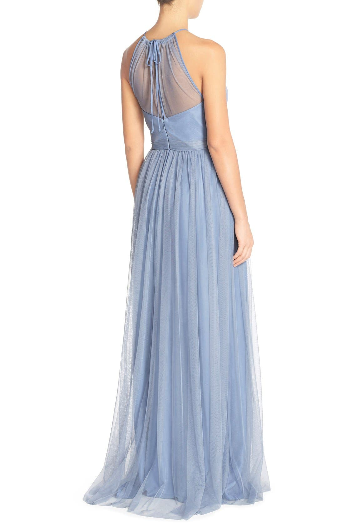 Alternate Image 2  - Amsale 'Aliki' Illusion Yoke Tulle Halter Gown